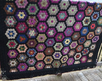 Silk Grandmother's Flower Garden Vintage Quilt