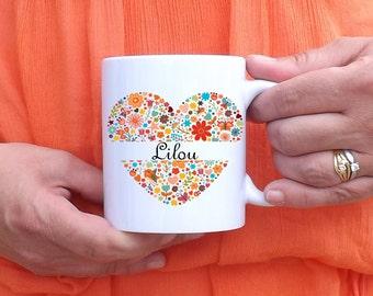 Custom mug heart in flowers