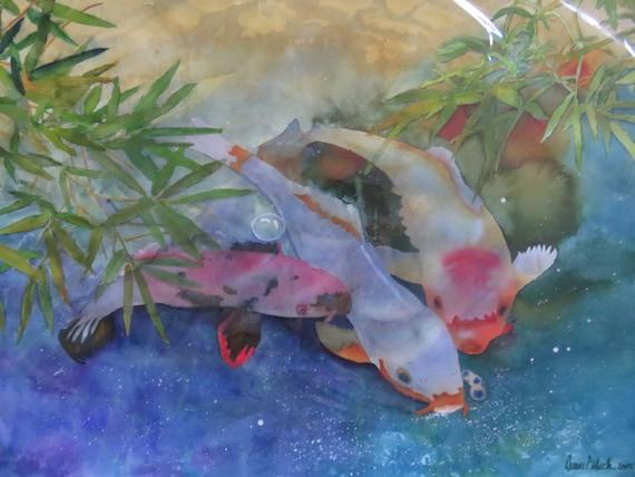 Watercolor original rectangular fish pond water bamboo leaves for Rectangular koi pond