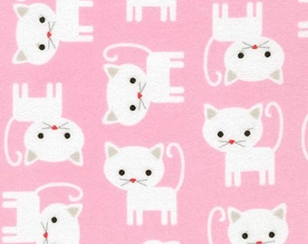 Urban Zoologie Flannel Cats by Ann Kelle for Robert Kaufman fabric Cats on a Pink background
