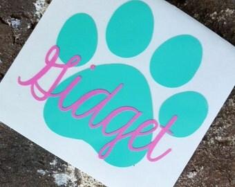 Paw Name Decal | Custom Dog Decal | Pet Decal | Pet Container Decal | Custom Pet Decal | Paw Print Decal | Custom Paw Print | Paw Sticker