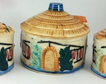 Vintage Salt & Pepper Shakers Occupied Japan Cottages with Thatched Roof  Salt,Pepper, Sugar Bowl 40s