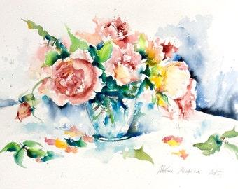 """""""Roses bouquet"""" original Watercolour"""