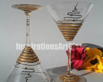 Hand painted Martini Glasses, Personalized Glasses, Gold Glitter Martini Glasses, Set of 2