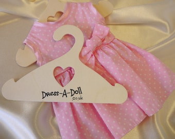 """10 x Wooden Dolls Clothes Hanger, Coat Hangers, dolls hanger, one size fits 10"""" 12"""" 14"""" 16"""" 18"""" + Doll clothes, American Girl, Waldorf Doll"""