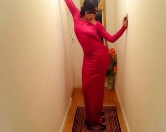 Red long dress in viscose