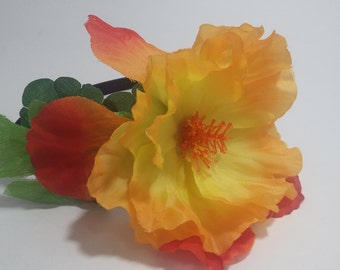 Tropical Island Yellow Orange Hibiscus Flower Headband