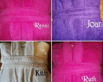 Personalised Womens Bath robe Embroidered with any name/message, Terry Towelling