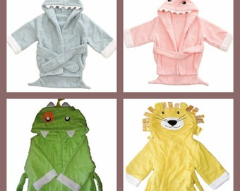Personalised Baby Animal/Cartoon Towelling Bath Robe, Shark/Monster/Lion, add any name