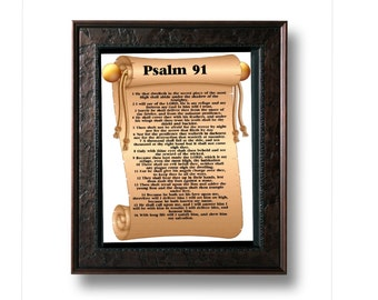 Psalm 91 poster, bible poster, scripture poster: Large A3 size. Water proof.