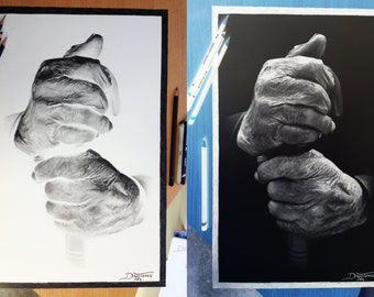 Inverted drawing ( old hands )