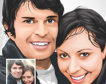 Couples Digital Illustration - Valentines Day Special