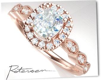 Gold Engagement Ring Gold - alternative Moissanite engagement rings Cz - Cushion cut Ring - Rose Gold Engagement Ring