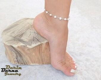 Fresh water pearl Anklet bracelet,Summer boho beach wedding bridal anklet,Pearl anklets,Boho foot jewelry anklet,Gipsy anklets,Pearl anklet