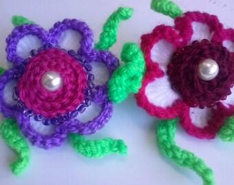Set of 2,Flower hair clip, 3d Flowers, Hair accessory,Flower hair accessory, Hand made, Flower girl,Crochet Flower Ponytail Bands for Girls