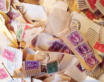 350 Vintage Postage Stamps Collage Paper Arts Collection Vintage Craft Supplies