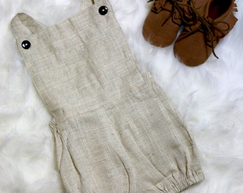 SALE summer Khaki Spring Linen Baby Infant Button bubble Sunsuit Romper