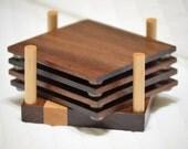 Handmade Walnut, wood, Beverage Coasters