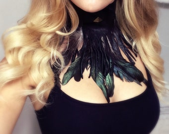 Festival Necklace, Hippie Necklace, Rave clothing, Burning man clothing, Rocker Clothing, Biker clothing, Feather Necklace, Feather Top