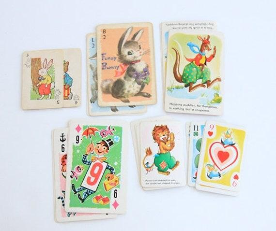 Set of 24 Vintage Child's Playing Cards - Vintage Cards - Mixed Media - Vintage Game - Altered Art - Assemblage - Scrapbooking