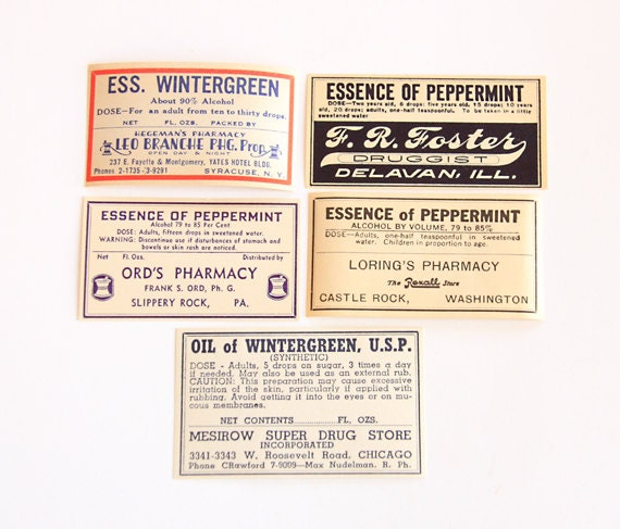 Vintage Winter Theme Pharmacy Label Set – Ephemera - General Store - Mixed Media - Altered Art - Collage - Scrapbooking