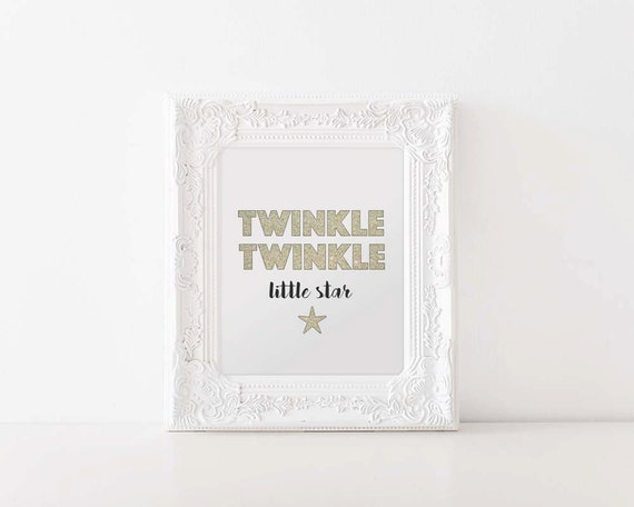 Twinkle Twinkle Little Star | Digital Printable, Printable, Wall Art, Nursery, Baby Girl, Art, Home Decor, Star, Baby, Girl, Glitter