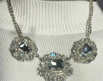 Silver Metal Crystals Necklace