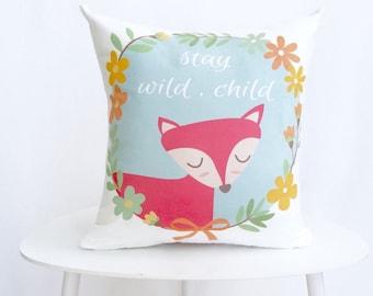 Decorative Pillow, Throw Pillow, Fox, Fox Pillow, Nursery Pillow, Gift, Stay Wild Child, Baby Shower Gift, Fox Decorative Pillow, Pillow