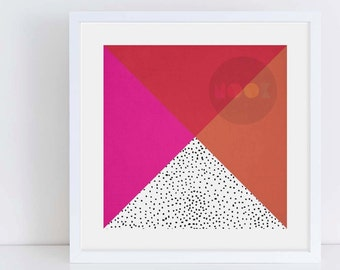 Triangles and Spots | Geometric Art Print | Printable Art | Instant Download | Digital File