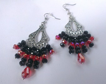 Boho Style Earrings, Chandelier Earrings, Black and Red Earrings,