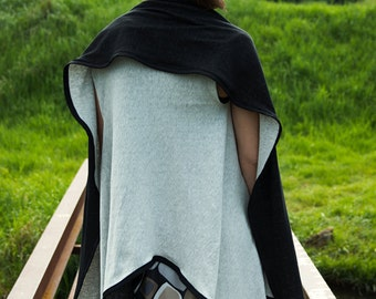 Double-sided black and grey sleeveless asymmetric cotton jersey vest
