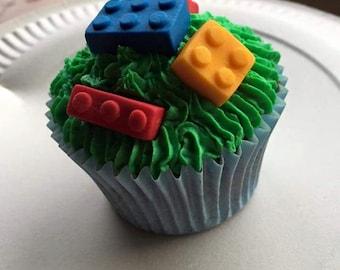 24 Edible Lego Bricks cake toppers