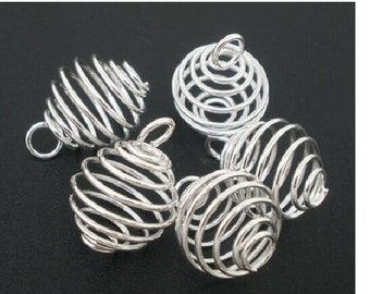 set of 20 large cages beads silver 20 mm x 14 mm