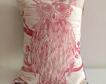 Owl on a Cherry Tree Pillow