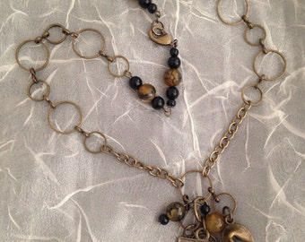 Good fortune brass, chain and bead necklace with charm