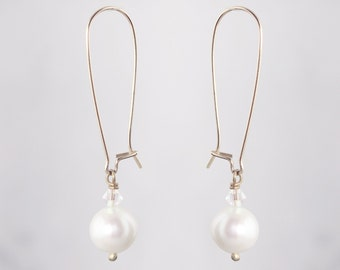 Pearl Drop Earrings Gold - Bridal or Bridesmaid Jewelry - Swarovski Crystals, Freshwater Pearls - Bekah Anne - Ready to Ship