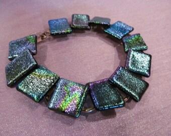 Beautiful original blue/green bracelet, blue/green bracelet, tile/link style bracelet