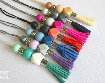 SALE: Tassel Necklace - Suede Leather Tassel & Silicone Beads