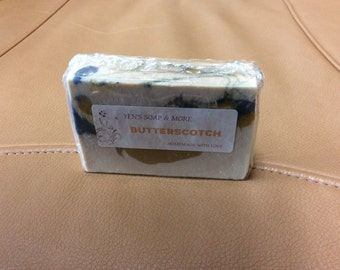 Butterscotch Homemade Soap Bar - Cold Process - Olive Oil, Coconut Oil, Palm Oil, Caster Oil........