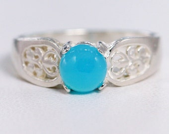 Blue Chalcedony Filigree Ring Sterling Silver, Natural Blue Chalcedony Ring, Sterling Silver Filigree Ring, Bright Blue Chalcedony