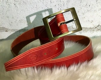 Hand sewn leather belt / handmade leather belt