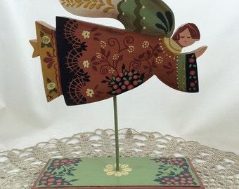 Folk Art Angel, Hand Painted Angel, Flying Angel, Wood Angel Figure, American Folk Art, Guardian Angel, Wood Angel, Peach, Sage Green, Ivory