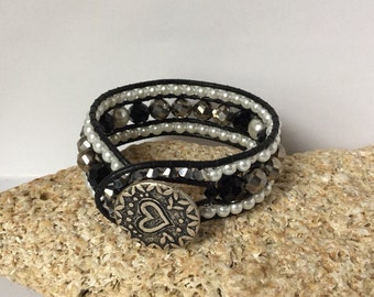 Leather Cuff Silver Black Bracelet