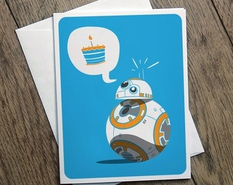 BB8 Birthday Card Illustration Star Wars Printable Cute Funny Clever Light Hearted Witty