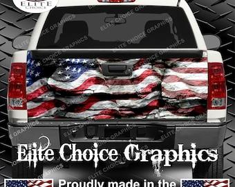 American Flag Rocks Truck Tailgate Wrap Vinyl Graphic Decal Sticker Wrap