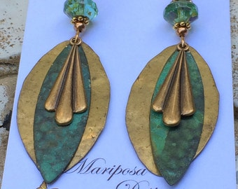 Vintage, Art Deco earrings, hammered brass, patina, dangle earrings