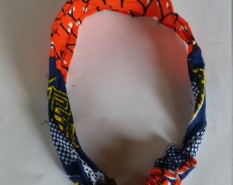 Bold Orange Kitenge Headband, Ugandan Fabric
