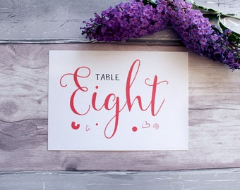 Wedding Table Number Cards |  Wedding Table Name Cards  | Wedding Stationery | Reception Stationery | On the Day | Personalised | Customised