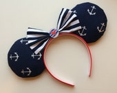 Cruise Nautical Inspired Mickey Minnie Mouse Ears Ready to Ship Disney Cruise Line DCL