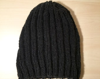 Charcoal Ribbed Knitted beanie